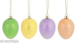 Glass Spring Easter Eggs Set of 4 in Pastel colors Microbeads basket stuffer