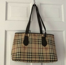 Authentic Burberry Plaid Tote Handbag - $280.39