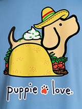Puppie Love Rescue Dog Adult Unisex Short Sleeve Cotton Tee,Taco Pup image 2