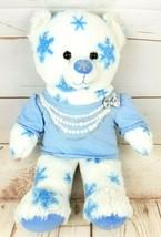 "Build A Bear 17"" White Blue Snowflake w/Shirt Winter Teddy Plush Stuffed Animal - $18.86"