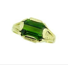 10k Gold Hand Engraved 4.06ct Green Genuine Natural Tourmaline Ring (#J4... - $1,295.00
