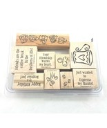 Stampin Up Espress Yourself Stamp Kit Rubber Wood Mounted 2002 Set of 9 - £10.71 GBP