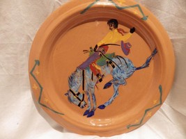"Western Cowboy Bronco Rider Horse Studio Pottery Plate MARTIE with ""Bear... - $29.03"