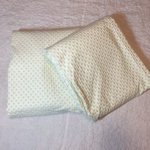 """2 Pottery Barn Kids Lined Drapes White with Green Chenille Dots 44""""x84"""" ... - $38.69"""