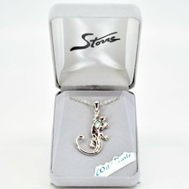 Storrs Wild Pearle Abalone Shell Gecko Lizard Pendant w/ Silver Tone Necklace