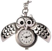 REATR Pocket Watch Alloy Cute Owl Pendant Vintage Quartz Watch With Gift... - $15.11