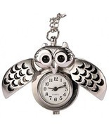 REATR Pocket Watch Alloy Cute Owl Pendant Vintage Quartz Watch With Gift Chain - $15.11