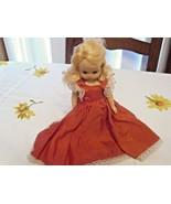 Vintage Nancy Ann Storybook Sleepy Eyes Jointed Doll Red Dress Blonde Hair - $17.63
