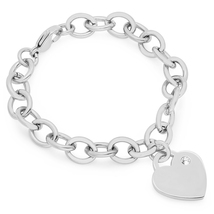 PIATELLA Ladies Stainless Steel heart bracelet adorned Swarovski Crystal - $13.99