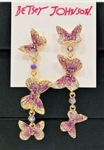 Betsey Johnson Lavender Crystal Butterflies  Dangling Drop Earrings New - $39.39