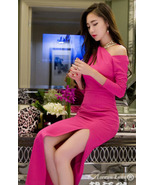 88F059 sexy neck halter long sleeve long dress, high slit,size s,m,l, ro... - $25.99