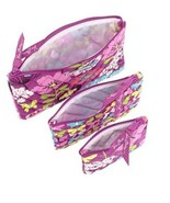 Vera Bradley Cosmetic Trio Flutterby Make Up Travel Bags New - $18.99