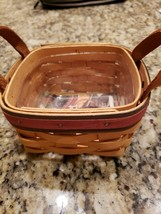 LONGABERGER 1999 FATHERS DAY GOLF TEE BASKET LEATHER HANDLES PROTECTOR E... - $23.99