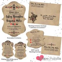 Alice in Wonderland Wedding invitation set Cutout shape RSVP wishing well - £1.90 GBP