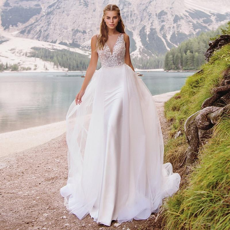 wedding dresses v neck appliques beaded mermaid wedding gown with detachable train vintage sexy