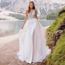 Deep Beaded V-Neck  Beaded Appliques Mermaid Wedding Gown with Detachable Train
