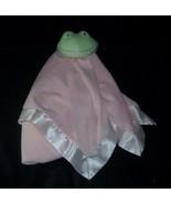 HALLMARK PINK GIRL BABY GREEN FROG SECURITY BLANKET STUFFED PLUSH TOY SA... - $23.38