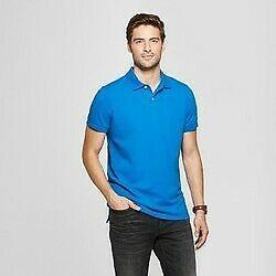 Men's Standard Fit Short Sleeve (SIZE M) Polo shirt Goodfellow & Co Blue Cobalt
