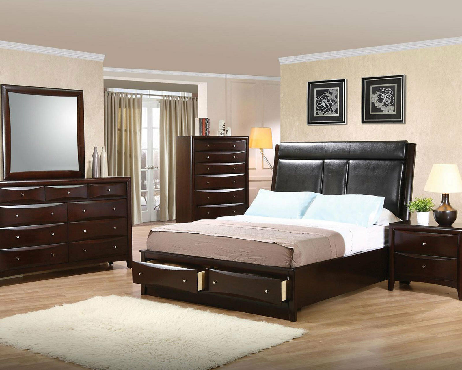 Modern espresso brown finish bedroom harrington 5pcs - Espresso brown bedroom furniture ...