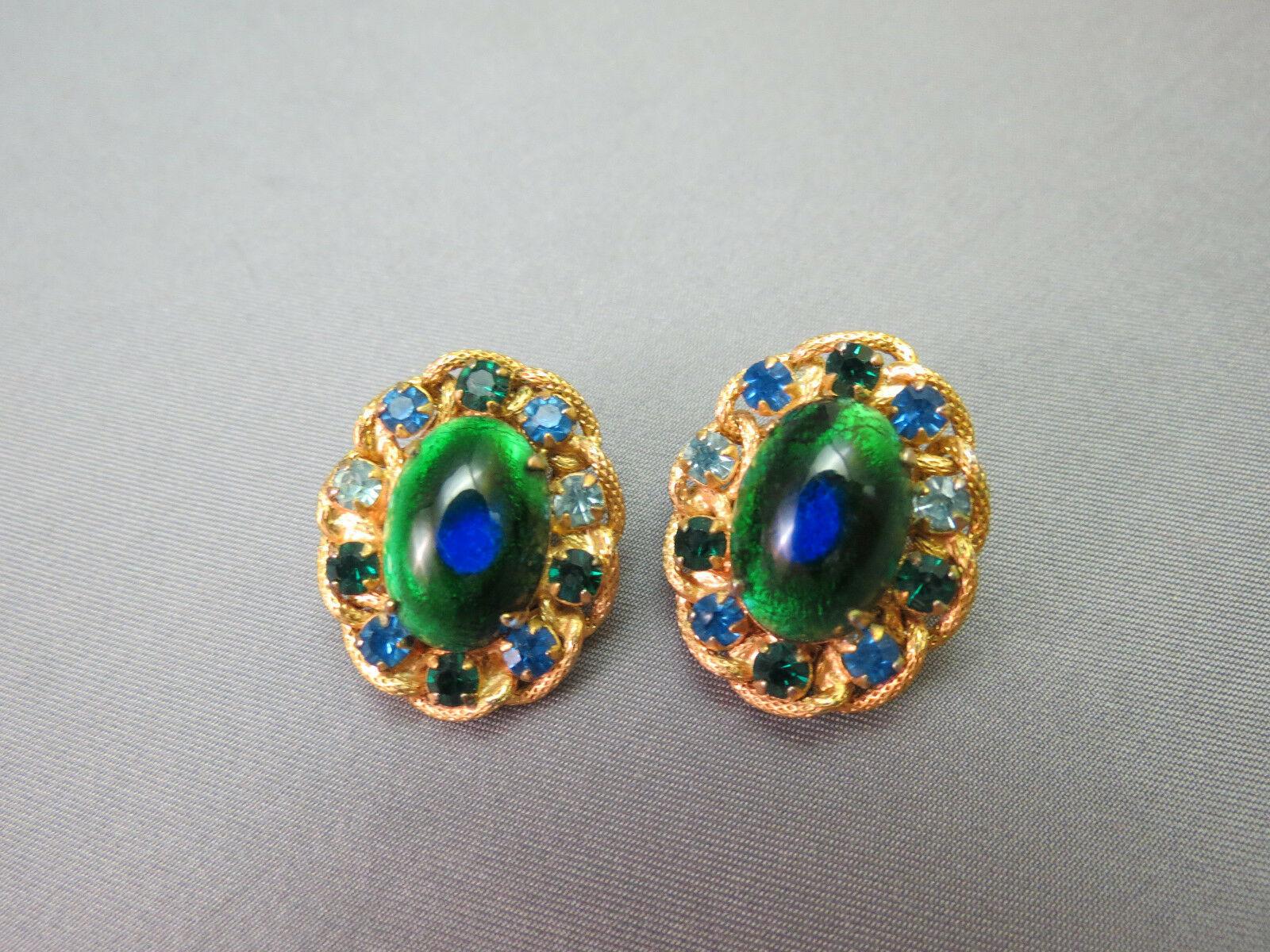 VTG Brania Bib Necklace Mimi Di N Collar Parue Blue Rhinestones Peacock Eye Cabs image 3