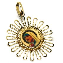 18K YELLOW GOLD MEDAL 25mm SAINT MOTHER TERESA CALCUTTA FLOWER SUN FRAME ENAMEL image 2