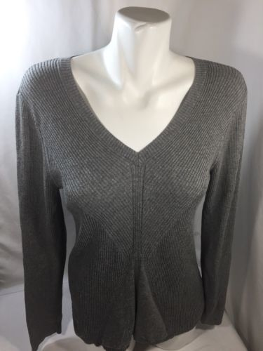 DKNY Jeans Women Gray Blouse V-neck Long Sleeve Cotton Thin Light Shirt Size XL - $15.90