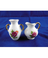 """Two BONE CHINA MINIATURE VASES MADE IN JAPAN Roses & Gold Ex Cond 1.5"""" M... - $4.84"""