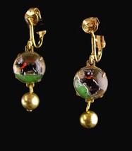 Vintage Dog Earrings / Essex glass / Scottish Terrier / Reversed Painted / Best  - $75.00