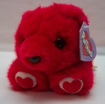 "Puffkins RED KISSES THE BEAR WITH HEARTS 4"" Brown Plush Stuffed Animal NEW - $14.85"