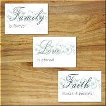 Wall Art Picture Print Inspire Decor Bedroom Kitchen Love Faith Family B... - $10.36