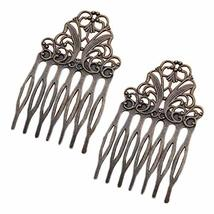 5 Pcs Retro Bronze Metal Side Comb Chinese Style Hairpin Topknot Hair Clip Brida