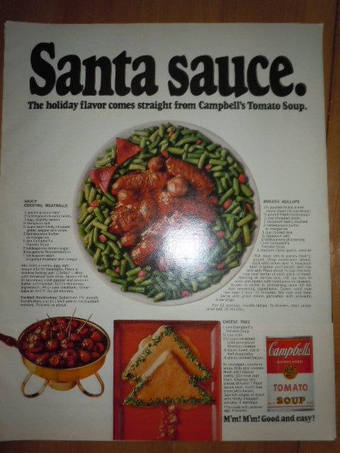 Campbell's Tomato Soup Santa Sauce Print Magazine Ad 1969