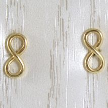 Yellow Gold Earrings, Pink or White 750 18k,Infinity Symbol, Length 1.0 Cm image 3