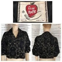 Vintage Free People black gold cropped moto jacket - $58.41