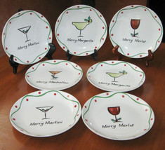 Jill Seale Merry Christmas 7 Appetizer Plates Manhattan Martini Merlot M... - $69.99