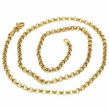 """18K YELLOW GOLD CHAIN 19.70"""", DOME ROUND CIRCLE ROLO LINK 3 MM MADE IN ITALY image 1"""