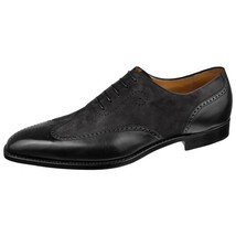 Handmade Men's Black Leather Gray Suede Wing Tip Brogue Oxford Shoes image 1