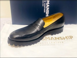 Handmade Men's Black Leather Brogues Style Slip Ons Loafer Shoes image 4