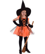 Kids Deluxe  Black / Orange Witch   - ages 3 to 14   - £24.89 GBP