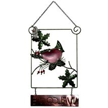 Metal & Glass Winter Holiday Cardinal Seasonal Hanging Welcome Sign Decor image 5