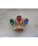 Vintage Small Trifari Gold Tone & Rhinestone Crown Pin or Brooch - $10.00
