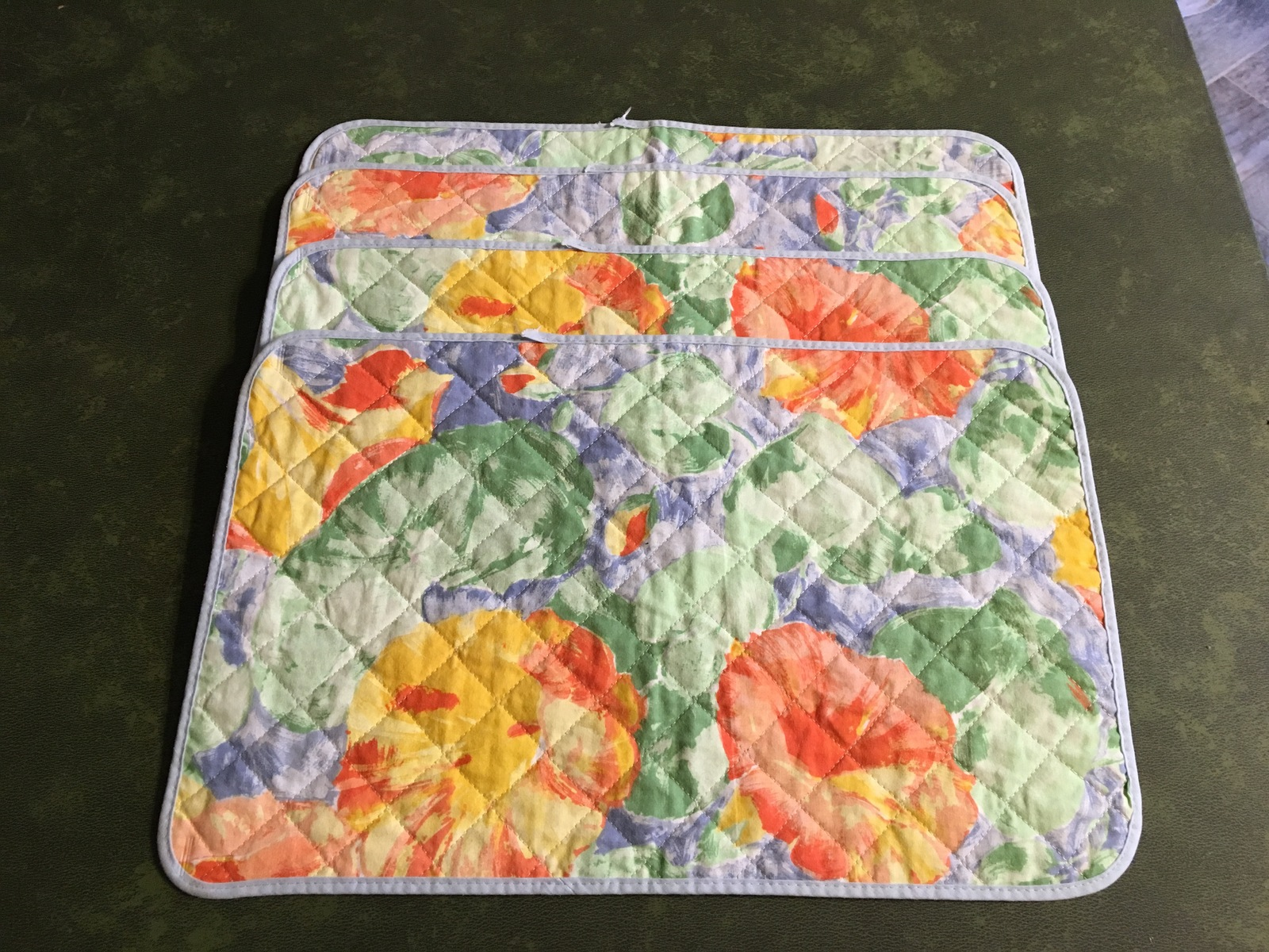 1990s IKEA Blue Monet Style Pastel Quilted Cotton Placemats (set of 4)