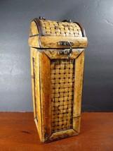 Vintage Rattan Wicker Wood Wine Bottle Box Case Holder for Gift Holds 1 ... - $16.99