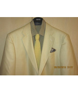 100% Silk Lands End 44L Golden Beige Solid Blazer + BB Silk Tie Excellen... - $196.00