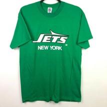 VTG Logo 7 New York Jets T Shirt Sz Medium Green White Spell Out Logo 80... - $19.79