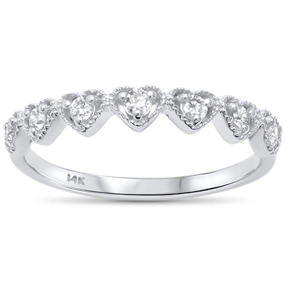 14K White Gold Heart Diamond Band Ring
