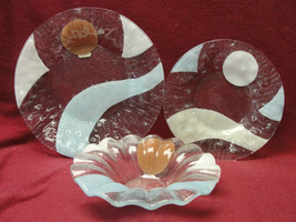 BILL SYDENSTRICKER FUSED ART GLASS 3-piece SET - RARE ABSTRACT PATTERN - $135.00