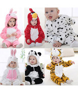 Cute Cotton Animal Warm Winter Fleece Baby Boy Girl Bodysuit Jumpsuit Sn... - $18.36