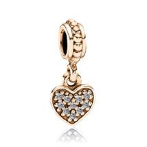 9ct Yellow GOLD Handmade Heart DANGLE CZ Charm Fits EUROPEAN BRACELETS Bead - $117.32