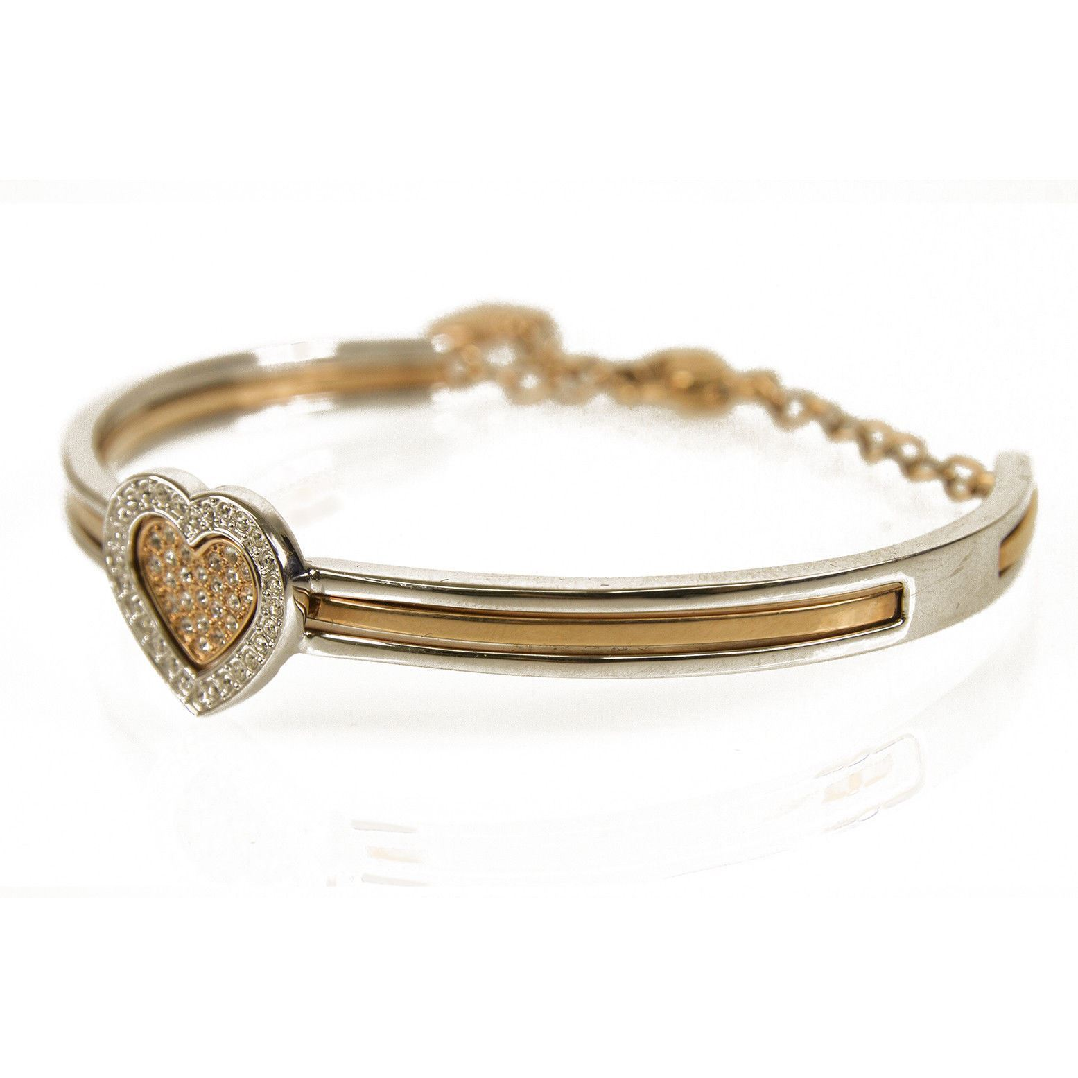 Swarovski J-Nina Cupid Heart Silver Gold Tone Crystals Oval Bangle Bracelet